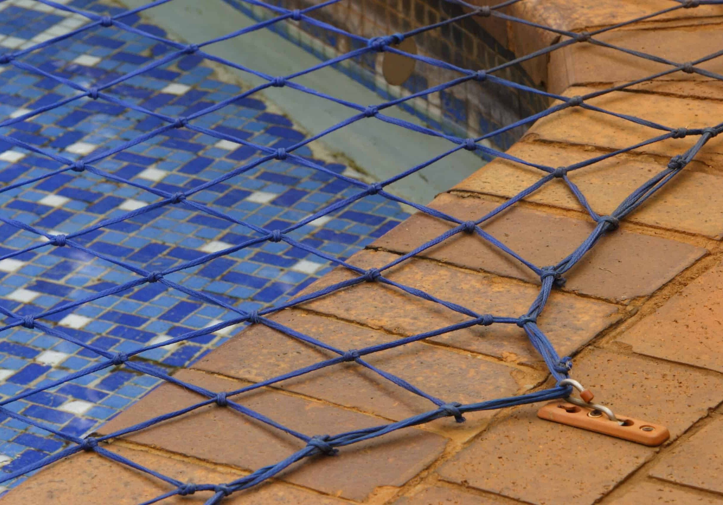 Close up view of a swimming pool net